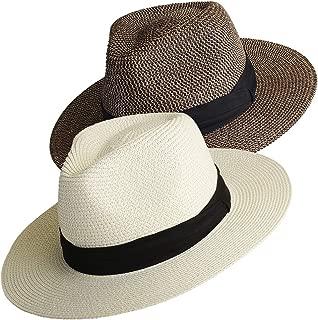 Womens Mens Wide Brim Straw Panama Hat Fedora Summer Beach Sun Hat UPF