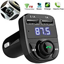 Wireless Bluetooth FM Transmitter, Handsfree Call, Car Charger, Radio Receiver & Mp3 Music Stereo Adapter,Dual USB Port Charger for Vehicles with no Bluetooth