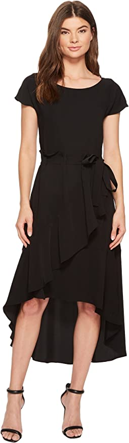 Laundry by Shelli Segal - Crepe Dress with Asymmetrical High-Low Hem