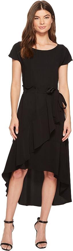 Crepe Dress with Asymmetrical High-Low Hem