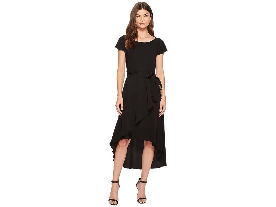 Laundry by Shelli Segal Crepe Dress with Asymmetrical High-Low Hem (Black) Women