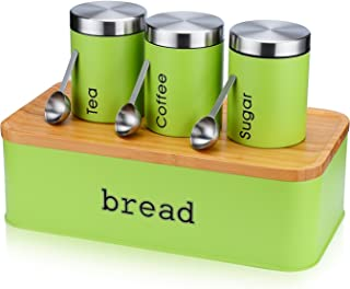 Large Bread Box for Kitchen, 8 Piece Bread Bin Storage Container Bread Holder with Cutting Board Lids, 3Pcs Food Storage Container Airtight Canisters , 3Pcs Stainless Ste