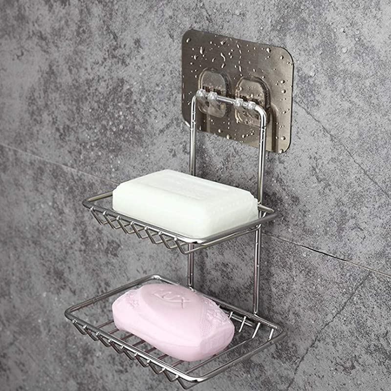 Panzisun Wall Mount Soap Holder Muilti Function Draining Storage Racks Adhesive Clean Sponge Shelf Hanger For Bathroom Kitchen Sink