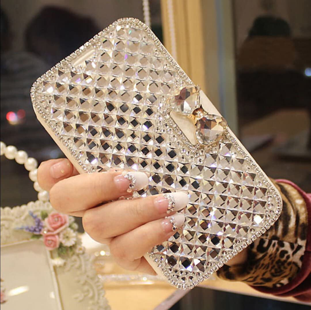 Jesiya for Samsung Galaxy S10 Wallet Case, Cute Shiny Luxury Bling Glitter Bowknot Crystal Diamond Rhinestone Wallet Flip Stand Case Kickstand Protective Full Body Cover with Card Slot