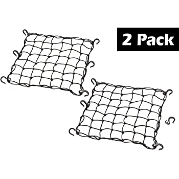 Black Allpdesky 2 Pack 15x15 Mfg Cargo Net Made with Premium Latex Bungee Material 3x3 Mesh and Rubber-Tipped Super Strong Metal Hooks