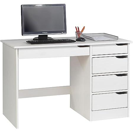 IDIMEX Bureau Hugo avec Rangement 5 tiroirs Style scandinave en pin Massif lasuré Blanc