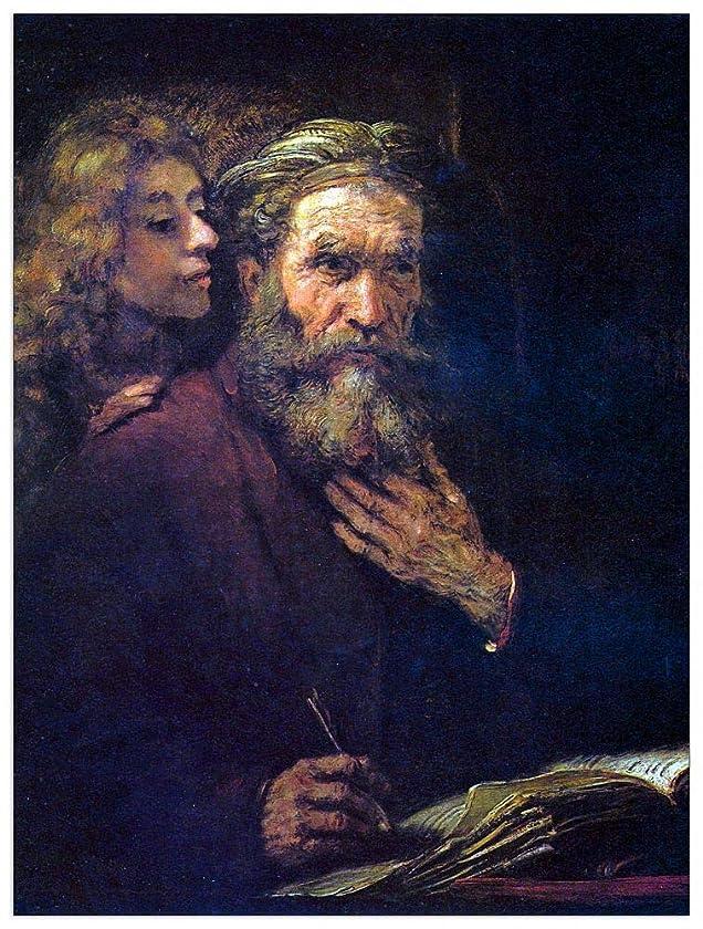 ArtPlaza TW93294 Rembrandt - Evangelist Mathew and The Angel Decorative Panel 27.5x35.5 Inch Multicolored