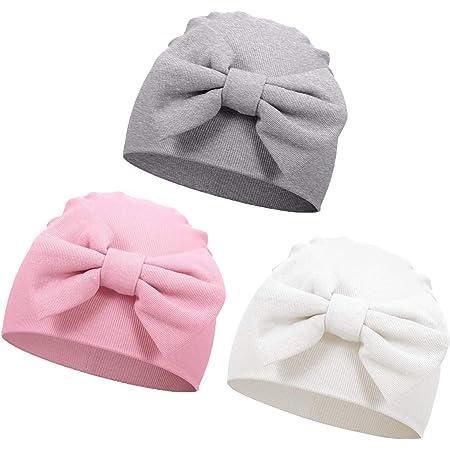 VUCDXOP 3 Pièces Nouveau-né Bonnet en Coton Bonnet de Naissance Chapeau Bébé Chapeau de l'hôpital Chapeau en Coton avec Nœud Mignon pour 0-6 Mois Bébé