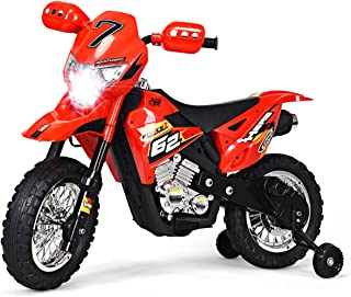 Costzon Kids Ride On Motorcycle, Motorcycle Toy for Children, Electric Motorcycle, Ride On Toy, Electric Ride on Motorcycle, with Headlights & Music, Pedal, Training Wheels, Battery Powered 6V (Red)