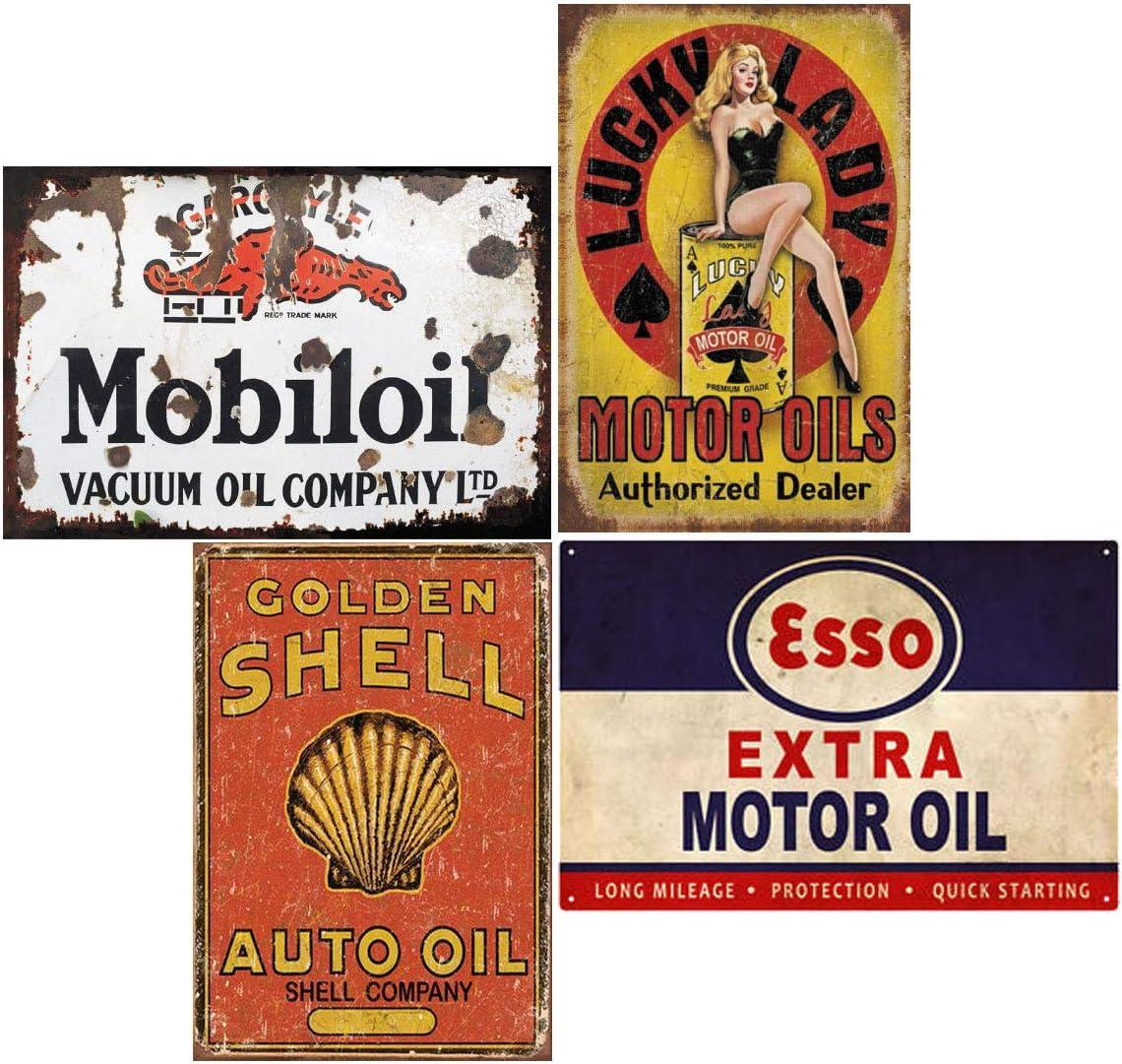 Tin Signs 4 Pieces Reproduction Overseas parallel import regular item half Gas Metal Oil Car Vintage