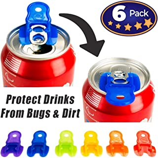 Beverage Barricade Soda Protector 6 Pack for Active Families. Improve Your Picnic or BBQ Experience: Shield Your Cans from Bugs & Dirt, Easily ID Whose Drink is Whose & Eliminate Painful Top Popping.