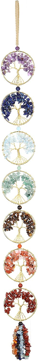 PESOENTH 7 Chakra Crystals Tree of Life Car Hanging Ornament Healing Stones Feng Shui Good Luck Home Window Wall Decoration Tumbled Gemstones Dowsing Crystal Pendulum Accessories Craft Gift