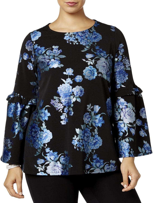 Alfani Womens Plus Metallic Floral Print Blouse