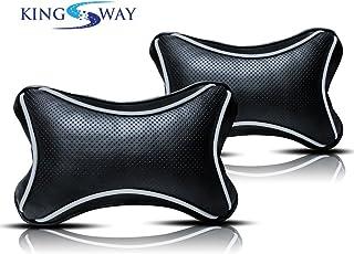 Kingsway Bone Shape Car Neck Rest Pillow for Tata Tigor (Black, Set of 2)