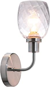XiNBEi Lighting Wall Sconce, 1 Light Bathroom Vanity Wall Light with Clear Glass, Brushed Nickel Finish XB-W1210-1-BN