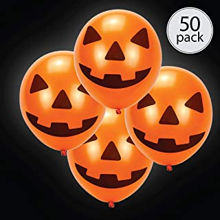 50 pack halloween LED light up round balloons. Premium latex. Lights 12-24 hours. Glow in the dark. Great supplies decorations for wedding, birthday parties, dance party. Helium & Air. (Globos para fiestas)