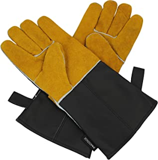 Leather Welders Gloves, Working Protect Gloves Heat Fire Resistant Oven Safety Mitts for BBQ Camping Cooking Baking Grill Welder Fireplace Stove Pot Holder Mig Yellow and Black