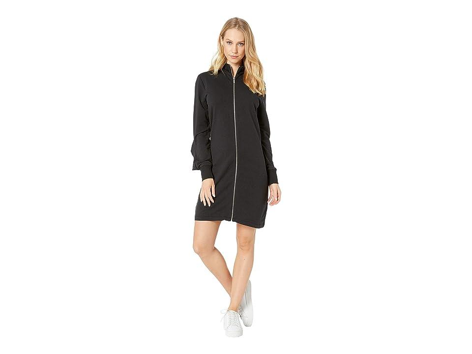 Bebe Zip Front Ruffle Back Dress (Jet Black) Women