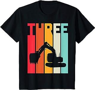 Enfant 3 Ans Anniversaire Retro Excavateur Construction Garçon T-Shirt