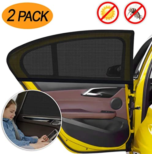 Car Window Sun Shade 2 Packs,【2020 Upgrade Version】 Breathable Elastic Mesh Car Rear Side Window Shade-Universal Fit ...