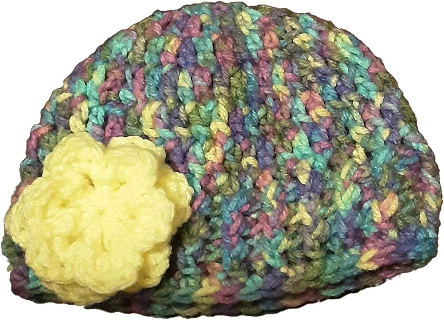 Sweet Lullabiez Handmade Blue Gray Purple and Yellow Baby Beanie with Yellow Flower Size 0-3 Months