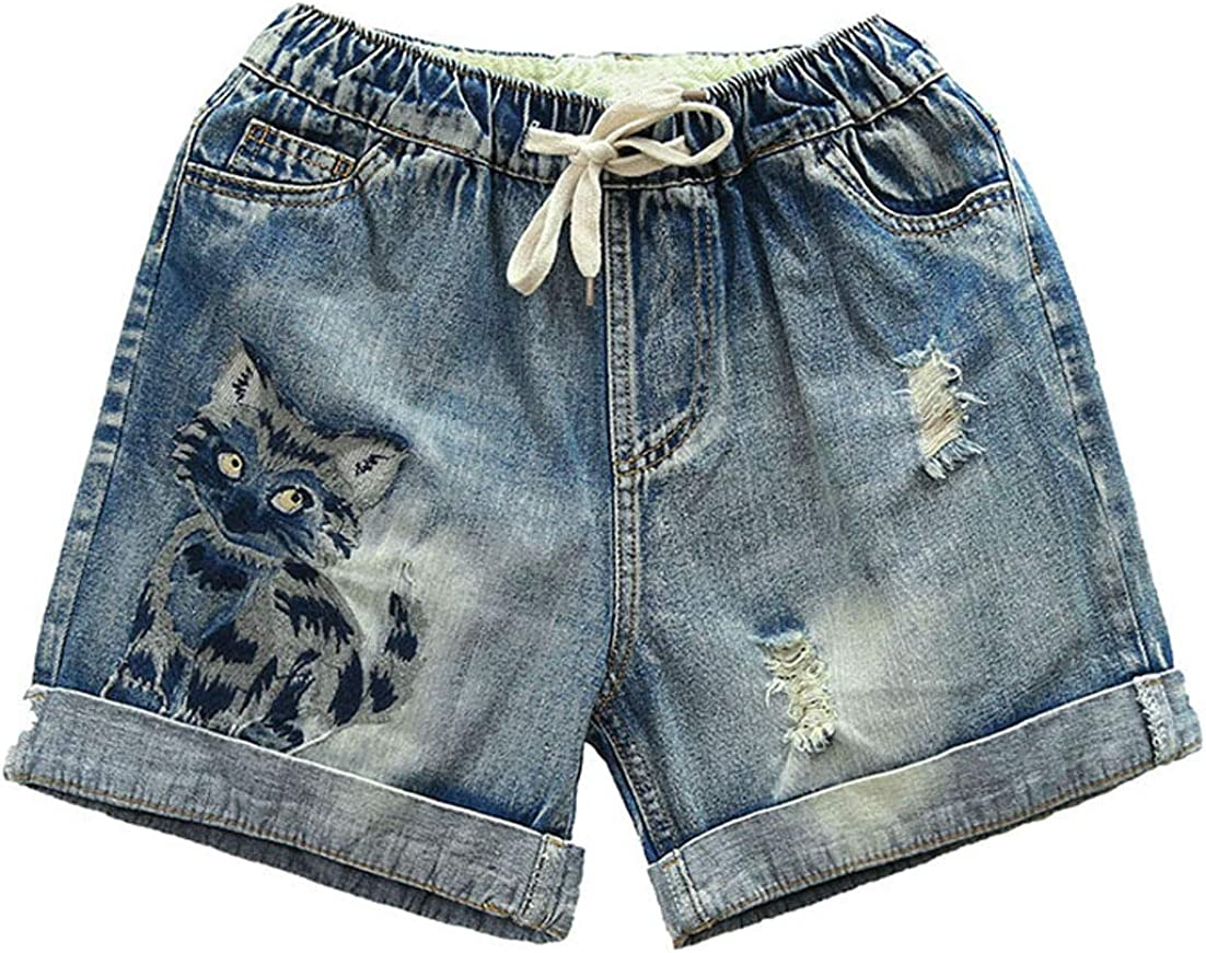 ebossy Women's Kitty Embroidery Relaxed Fit Elastic Waist Drawstring Folded Hem Distressed Denim Shorts