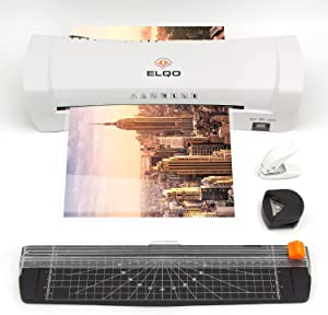 A4 Thermal Laminator with Hot & Cold Settings - Portable 9 in. Personal Laminating Machine for Home, Office & Teachers - Includes Paper Cutter, Hole Puncher, Corner Rounder & 30 Lamination Pouches