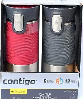Contigo ContigoTravel Autoseal Stainless Steel Spill-Proof Travel Mug, 2 pk Pinot Noir & Gray