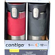 Contigo ContigoTravel Autoseal Stainless Steel Spill-Proof Travel Mug, 2 pk Pinot Noir & Gray