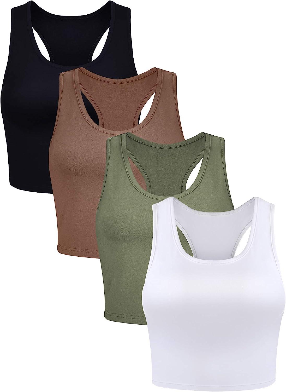 Geyoga 4 Pieces Basic Workout Crop Tank Tops Sleeveless Racerback Sport Tank Top for Women Yoga Running : Sports & Outdoors
