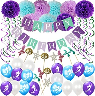 YOUHUA HOME Mermaid Party Supplies & Birthday Decorations kit,Happy Birthday Banners,Tissue Pom Poms Paper Flowers,Latex Balloons,Hanging Swirls For Girl's Mermaid Birthday Party And Baby Shower Decorations