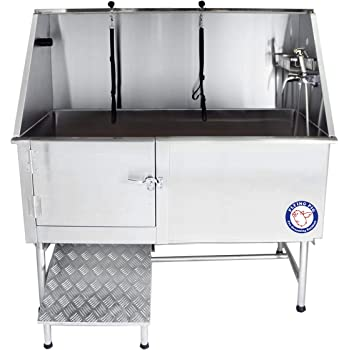 "Flying Pig Grooming 62"" Professional Stainless Steel Pet Dog Grooming Tub with Faucet, Walk-in Ramp & Accessories"