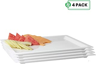 "Party Bargains Disposable Rectangle Plastic Serving Tray | Excellent for Weddings, Buffets, Birthday, More | 18"" x 12"" White Trays (4 Pack)"