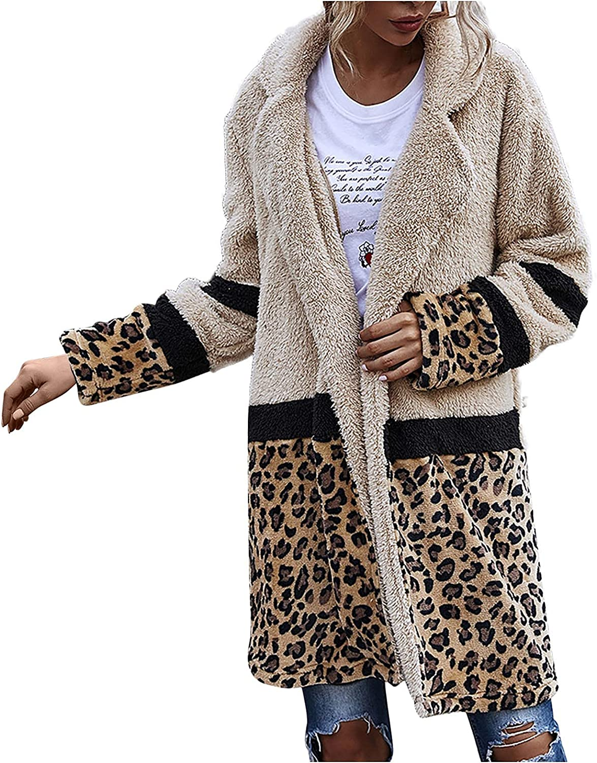 Womens Trench Coats Faux Shearling Fashion Color Block Teddy Coat Max 82% OFF Jacket