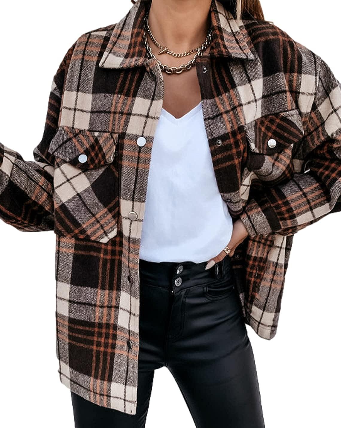 Peaceglad Women's Lapel cheap Long Sleeve Shirt Casual Sn Jacket Trust Plaid