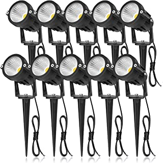 SUNVIE 12W LED Landscape Lights Low Voltage Garden Pathway Lights Super Warm White 12V Waterproof Outdoor Spotlights for Driveway Walkway Yard Patio Porch Trees with Spike Stand (10 Pack)