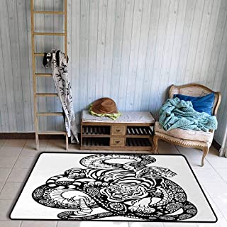 Tiger Area Floor Rugs Tattoo Style Scene of Two Animals Fighting Long Snake with Sublime Large Cat Battle Dining Room Home Bedroom W55 x L63 Black White