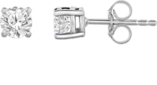 0.50 ct t.w. SINGLE Diamond Stud Earring in 14K White Gold with Push Back J-K I2-I3