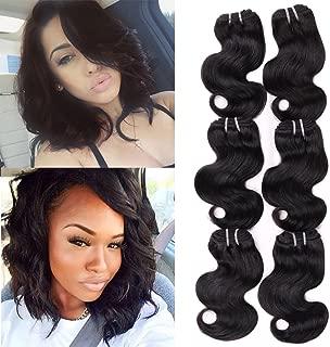 HANNE 6Pcs Brazilian Virgin Hair Body Wave 8 Inches Short Curly Hair Virgin Brazilian Hair Weaves 50G/Pcs Human Hair Extensions (8