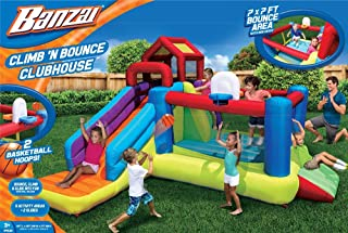 BANZAI Climb N Bounce Clubhouse (Outdoor Backyard Summer Spring Inflatable Jumping Bouncing House Castle)