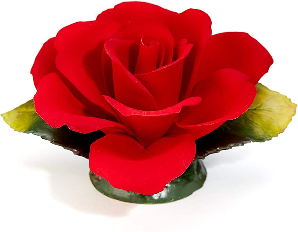 Rosa rossa fragrant,  in porcellana,  prodotta a mano in italia