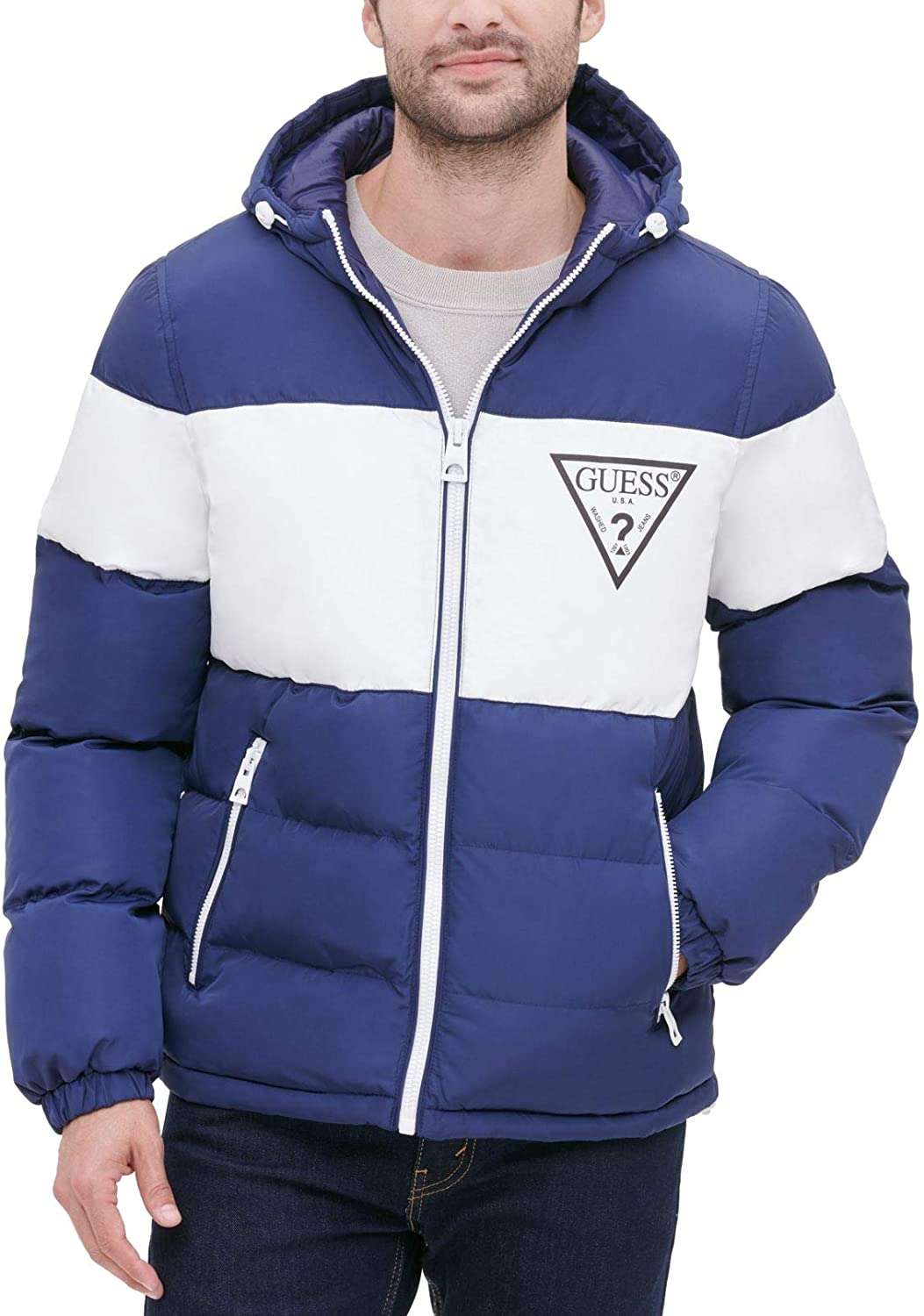 GUESS Men's Color Block Hooded Puffer Jacket