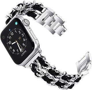 KADES Edelstahl Armband kompatibel für Apple Watch SE Series 6 Series 5 Series 4 40mm, Frauen Link Armband kompatibel für iWatch Series 1,2,3 38mm, Silber mit schwarzem Leder