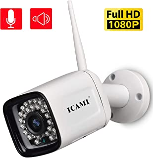 ICAMI Security Camera Outdoor Wireless 1080p WiFi Waterproof SD Card with Remote View Two-Way-Audio Motion Detection