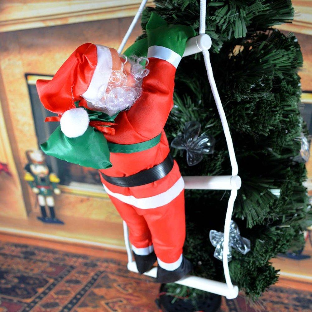 yooan escalada de Papá Noel en escalera de cuerda casa al aire libre de interior árbol de Navidad Hanging Decor vacaciones regalo escalada Santa adorno de Navidad,: Amazon.es: Hogar