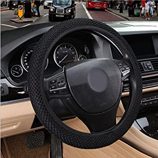 Rayauto Breathable Mesh Car Steering Wheel Cover Anti-slip No Fixed Inner Race-black