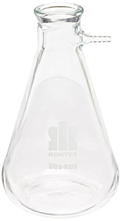 Kimble 953760-4002 Borosilicate Glass Erlenmeyer Style Filter Flask with Safety Coated 4L Capacity