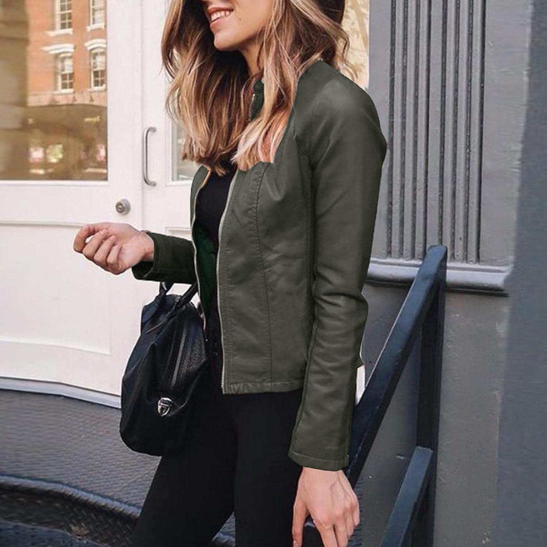 Hemlock Women PU Leather Jacket Short Zip Up Coat Slim Cardigans Moto Biker Jackets Oversized Tops Outwear