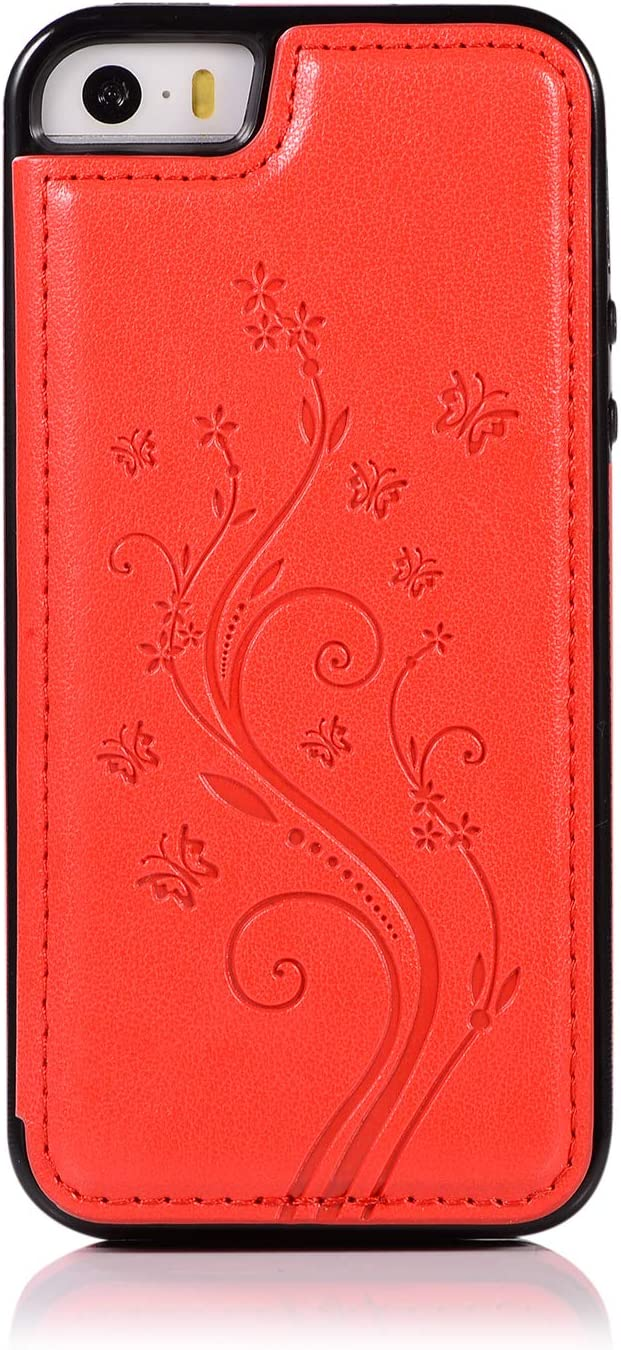 Back Wallet Case Regular discount Save money for iPhone 5 5S with Elegant SE Emb Stand QFFUN