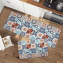 "Seavish Anti Fatigue Kitchen Floor Mat Set, Blue Tribal Boho 2 Piece 18"" x 29""+18"" x 47"" Non-Slip Rubber Backing Kitchen R..."